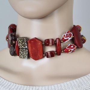 Vintage Lampwork Glass Choker Necklace Handmade